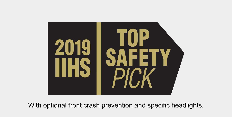 Mostrar logo de Top Safety Pick 2019 del IIHS. Con prevención de colisión frontal opcional y faros específicos.